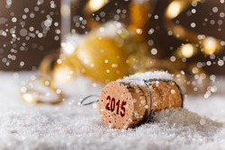 New Year concept with champagne cork