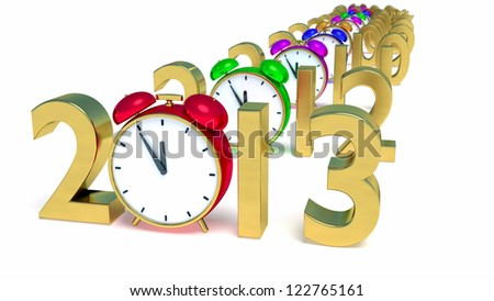New year 2013 concept with red clock