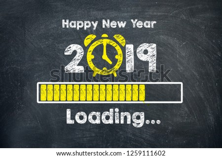 New year concepts 2019 countdown clock on blackboard #1259111602