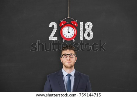 New year 2018 concepts countdown clock on blackboard