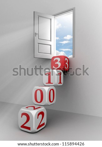 new year 2013 conceptual door with red and white dice steps