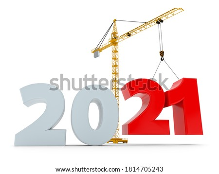 New 2021 year construction background with tower crane setting down red twenty figure. 3D rendering. 2020 year calendar design.