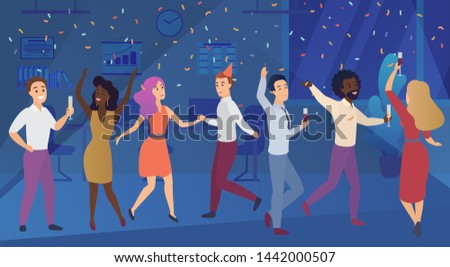 New year corporate party or birthday celebrating in office. Business team happy people celebrate illustration.