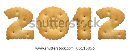 new year 2012. cracker in shape numeral on white background - stock photo
