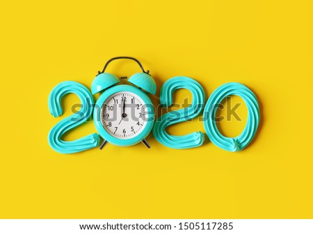 New year 2020 cream number with blue alarm clock. 3d rendering