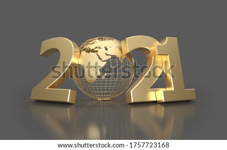 New Year 2021 Creative Design Concept with globe - 3D Rendered Image Foto d'archivio ©