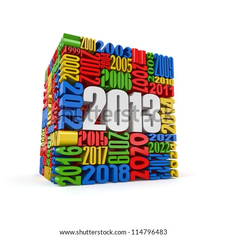 New year 2013. Cube built from numbers. 3d