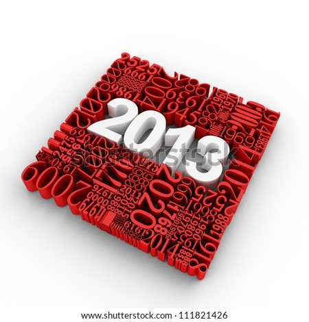New year 2013. Cube of many year numbers.