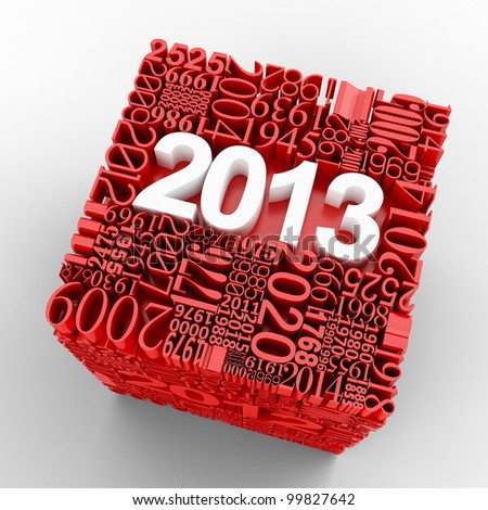 New year 2013 Cube of many year numbers