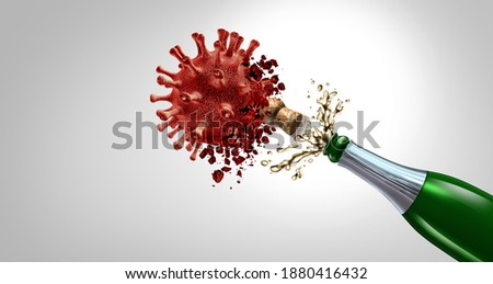 New Year cure and healthy NewYear holiday celebration or medical treatment as a sparkling wine bottle with splash and flying cork destroying a virus cell to celebrate healthy future as a 3D render. Foto stock ©
