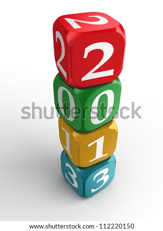 new year 2013 3d colorful dice tower on white background.clipping path included