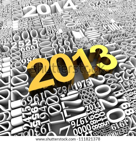 New year 2013. 3d gold of many year numbers.
