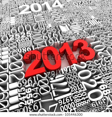 New year 2013. 3d of many year numbers.