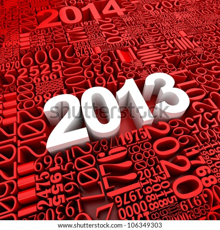New year 2013. 3d of many year numbers