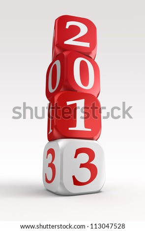 new year 2013 3d red and white box tower on white background.clipping path included