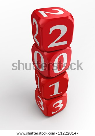 new year 2013 3d red and white dice tower on white background