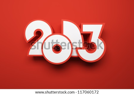new year 2013 3D render
