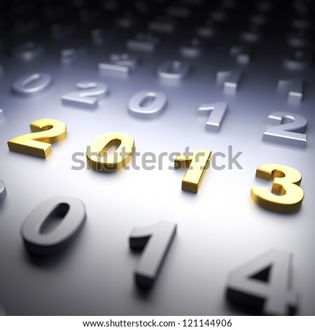 New Year 2013. 3d render illustration