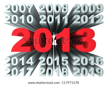 New Year 2013. 3d render illustration isolated at white background