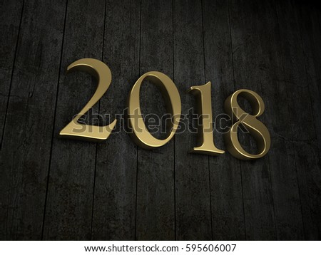 New Year 2018 - 3D Rendered Image #595606007