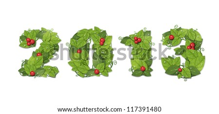 New year 2013. Date lined green leaves with red berry and drops of dew. Isolated on white background