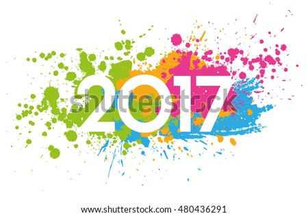 New Year 2017 date on colorful paint stains isolated on white #480436291