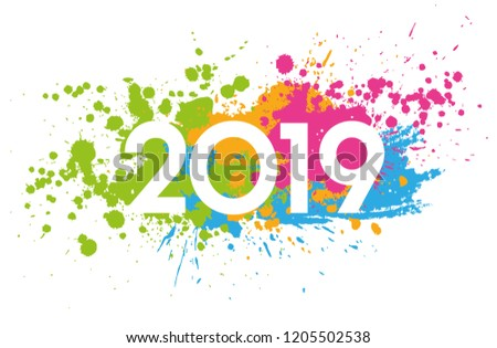 New Year 2019 date painted with colorful stains #1205502538