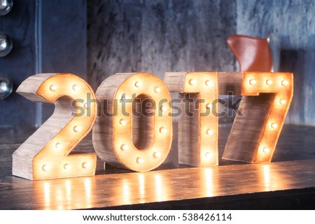 New year decoration, Closeup on 2017. Christmas interior concept