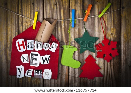New Year decoration with message in letter