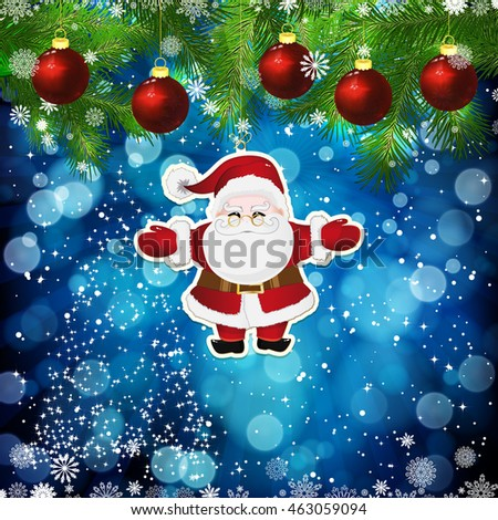 new year design background template card whit red christmas balls on the green branches