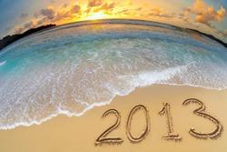 new year 2013 digits on ocean beach sand