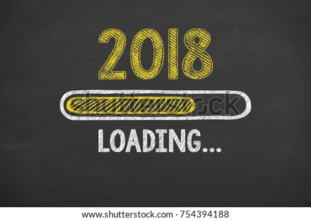 New Year 2018 Energy Concept on Chalkboard Background