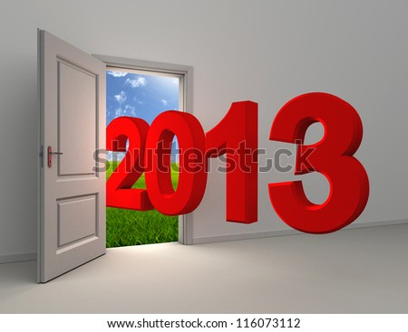 new year 2013 enter open white door with field and sky background