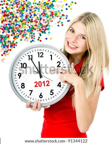 new year 2012. five to twelve. young beautiful woman holding big clock and party decoration