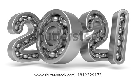 New 2021 year from numbers as bearing. 3D Illustration Сток-фото ©