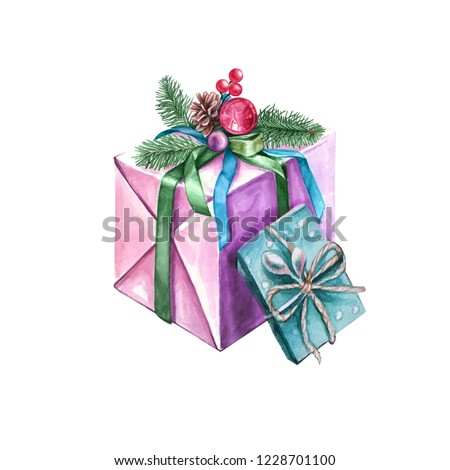 New Year gifts. Watercolor boxes with branches of a Christmas tree, Christmas decorations, colored ribbons, berries and a pine cone.