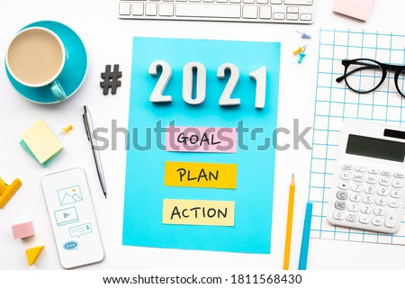 New year 2021,goal,plan,action text  with modern office accessories.Business management,Inspiration concepts ideas