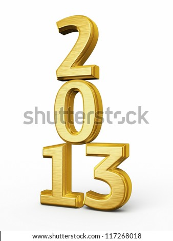 New Year 2013 Gold render (isolated on white and clipping path)