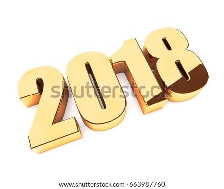 new 2018 year golden 3d figures ...