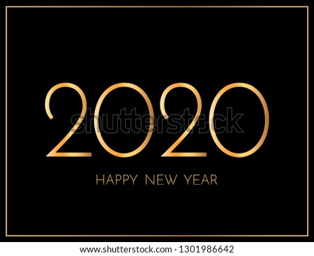 New Year 2020 greeting card. 2020 golden New Year sign on dark background. Illustration of happy new year 2020. Raster version.