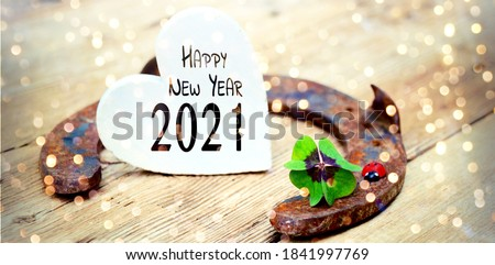 New year greeting card - horseshoe with leaf clover and ladybug - Happy New Year 2021 Сток-фото ©