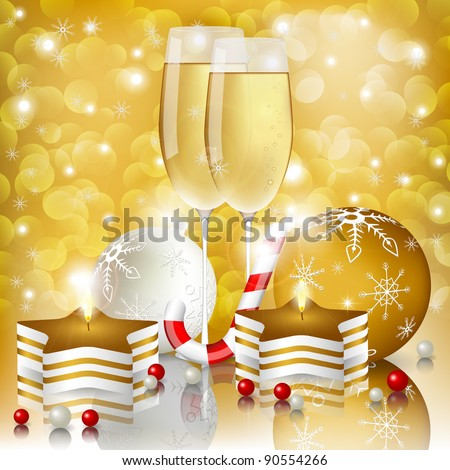 New year greeting card with champagne