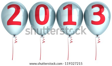 New Year 2013 helium balloons holiday party decoration. White balloon with red text. Future calendar date. Detailed 3d render. Isolated on white background