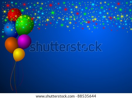 new year illustration with stars and balloons