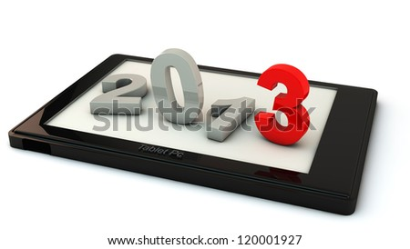 New year 2013 in a tablet on white background