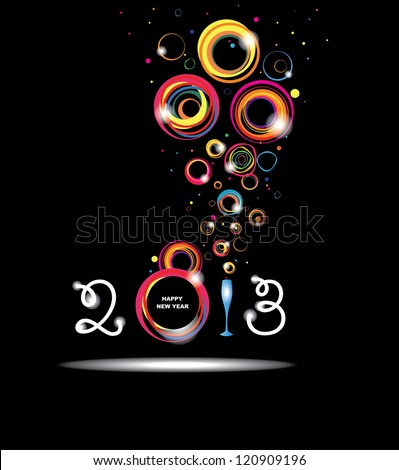 New year 2013 in black background. Abstract poster. Raster version