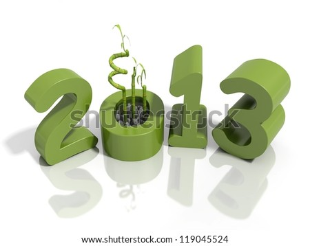 New year 2013 in green numbers with bamboo on a reflective white surface