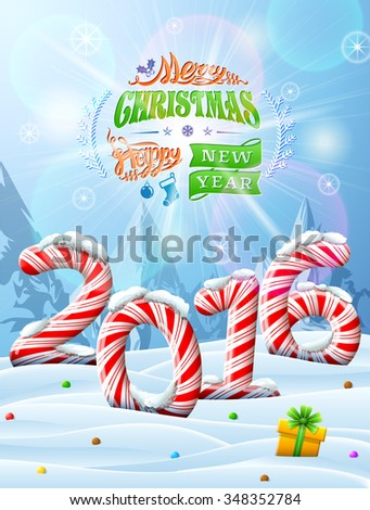 New Year 2016 in shape of candy stick in snow. Winter landscape with candies, gift box, congratulation. Illustration for new year\'s day, christmas, sweet-stuff, winter holiday, food, silvester, etc