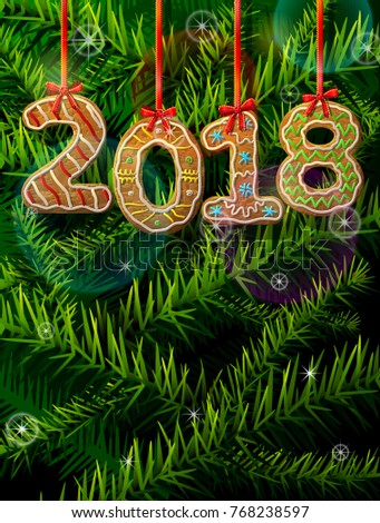 New Year 2018 in shape of gingerbread against pine branches. Year number like cookies on ribbon. Best illustration for christmas, new years day, cooking, winter holiday, food, silvester, etc