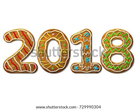 New Year 2018 in shape of gingerbread isolated on white. Year number as cookies. Design element for new years day, christmas, winter holiday, cooking, new years eve, food, silvester, etc